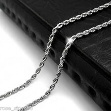4 mm MENS Chain Unisex Silver Tone Twist Rope Stainless Steel Chain Necklace 23""