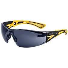 Bolle Rush + Small Safety Glasses with Smoke Anti-Fog Lens, Yellow/Black