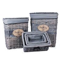 Wäschekorb Wäschebox Wäschesammler Wäscheaufbewahrung Weidenrute Stoff 5er Set