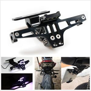 Motorcycle Scooter ATV License Plate Holder Tail Light Bracket Adjustable Black