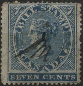 Canada Revenue VanDam #FB7 - 7c blue bill stamp perf 13.5 used  (1864)