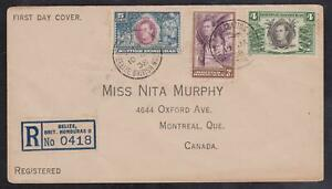 British Honduras Registered First Day Cover to Montreal - Multiple 1938 CDS's