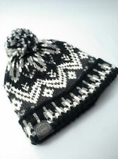 American Eagle Turn Up Classic Fit Pom Beanie Hat Black White Grey