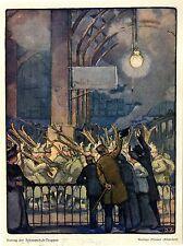 Auszug der Schneeschuh-Truppe von W. Püttner München von 1914