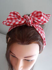 RED GINGHAM HEAD SCARF HAIR BAND BOW ROCKABILLY LAND GIRL RED lined pin up