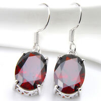 Fire Red Garnet Gemstone Silver Dangle Hook Earrings Fashion Jewelry Gift