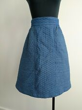 Made590 Blue Denim Quilted high waisted A Line Skirt with pockets S AU 10