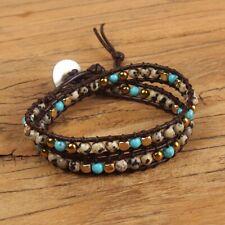 Dalmatian Jasper Bead Friendship Bracelet Wrap Surf Beach Brown Chakra Leather