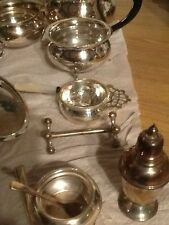 Vintage Silver Plated Tea Strainer, Mother of Pearl Handle with STAND/drip tray