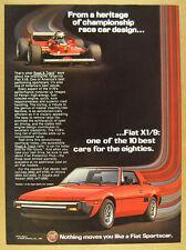 1982 Fiat X1/9 X19 red car color art vintage print Ad
