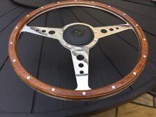 Jaguar Xj6-xj12 Up To 1973 Classic Woodrim Steering Wheel 16 Inch Flat Pol