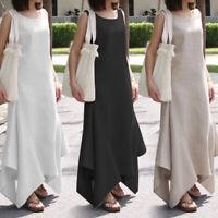 Womens Holiday Sleeveless Dress Ladies Long Maxi Summer Party Beach Sundress