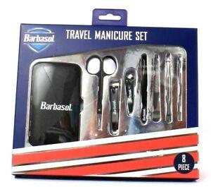 Barbasol 8 Piece Travel Manicure Set Scissors 2 Clipper File Tweezer Case Pusher