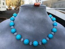 Handmade Necklace of Round Turquoise Blue Stones and Clear Crystal Beads