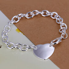 925 Stamped Sterling Silver Filled SF Heart Pendant Charm Bracelet BL-A245