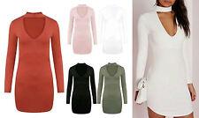 Women's No Pattern Viscose Long Sleeve Stretch, Bodycon Dresses