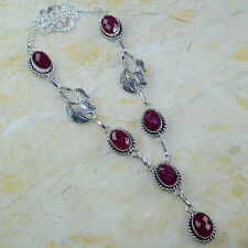 "Handmade Cherry Ruby Natural Gemstone 925 Sterling Silver Necklace 20"" #P50533"