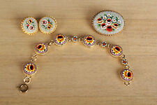 Vtg Glass Flower Micro Mosaic Bracelet Brooch and Earrings Made in Italy #351