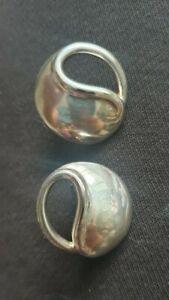 Large Sterling Silver Stud Earrings Hallmarked London 1990