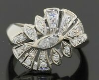 Vintage heavy 14K WG 0.45CTW VS1/F diamond cluster cocktail ring w/ .15CT ctr.