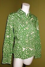 Womens BODEN THE SHIRT Green White Floral Print US 8 UK 12 Contrast Cuff