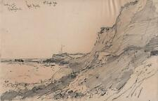 GEORGE CHARLES HAITE Victorian Pencil Drawing 1898 KESSINGLAND SUFFOLK COASTLINE