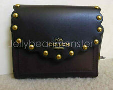 COACH 78300 Colorblock Scallop Rivets Leather Tri-fold Wallet Purse S Black NEW