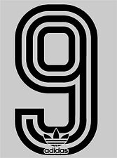 1980's Retro Adidas no 9 Football Name set  for National shirt black or white