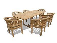 "Windsor Premium Grade A Teak 82""x39"" Rect Extension Table w/6 Impressive Chairs"