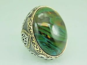 Turkish Handmade Jewelry 925 Sterling Silver Amber Stone Men Ring Sz 12