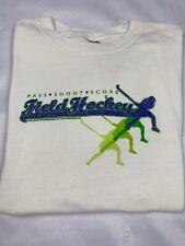Field Hockey Tshirt White Green Periwinkle Glitter Pass Shoot Score Women Large