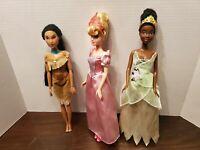 Disney Princess Pocahontas Aurora And Tiana Doll Lot Of 3 EUC Not Complete