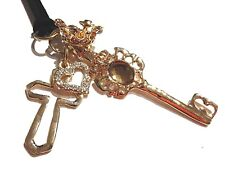 KEYS TO HIS KINGDOM GOLD CLUSTER NECKLACE heart crown cross pendant steampunk E6