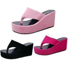 Womens Wedges Flip Flop Platform Slippers Clip Toe Beach Thick High Heel Sandals