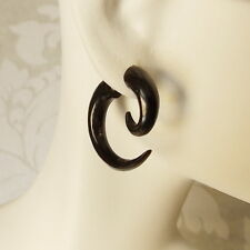 Extra-Small Spiral Fake Gauge Tribal Earring Carved Black Horn Gothic Jewelry