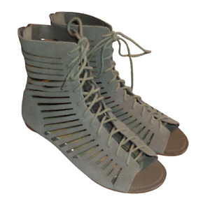 Gray Cutout Strappy Gladiator Suede Leather Laceup High Sandals Zip Heel Size 7