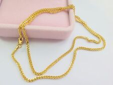 Real Fine Solid 18K Yellow Gold Necklace/ Men Women Wheat Chain Necklace/ 4.3g