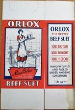 Orlox Beef Suet 1920s Advertising Box - Woman Cooking - UK