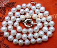"""6-7mm White Round Natural Freshwater Pearl Necklace for Women Chokers 17"""" ne5613"""