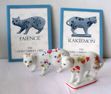 Franklin Mint, Curio Cabinet Cats, Faience, Kakiemon, Both w/ Flowers