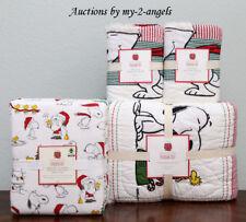 Pottery Barn Kids PEANUTS HOLIDAY F/Q Quilt+Shams+Full Sheet Bedding Set *Snoopy