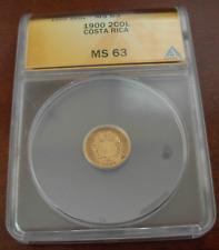 Costa Rica 1900 Gold 2 Colones ANACS MS63