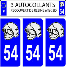 3 sticker plaque immatriculation auto DOMING 3D RESINE CASQUE POMPIER DEPARTE 54