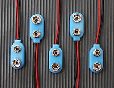 5-Stück Plastik Batterieclip für 9-V Block mit ca. 15cm Anschlußkabel