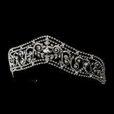 Antique Silver Regal Princess Rhinestone Bridal Tiara Crown Wedding Headpiece