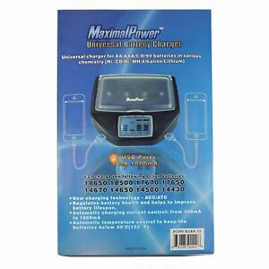 MaximalPower Charger for Lithium, Alkaline, Ni-CD, Ni-Mh AA AAA C D 9V RCR123A