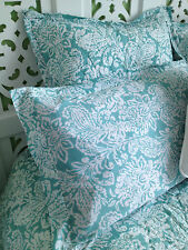 King Bed Size Hand Quilted Yarra Aqua Cotton Bedspread Coverlet Set