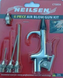 6PC AIR COMPRESSOR BLOW GUN TOOL COMPRESSED AIR DUSTER GUN AIRLINE BLOWER NOZZLE