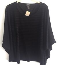 NEW Travelers Chicos XS 0 4 Drop Needle Top Blouse Black Batwing S/S NWT $89