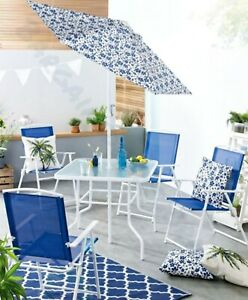 6 Piece Garden Furniture Set Dining Table 4 Chairs Seats Parasol Patio Blue New
